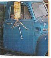 Old Blue Farm Truck Wood Print