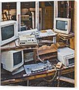 Old Computers In Storage Wood Print by Eddy Joaquim