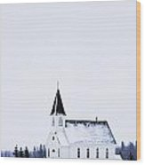 Old Fashioned Steeple Church In Winter Wood Print