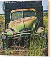 Old Green Truck Wood Print