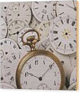 Old Pocket Watch On Dail Faces Wood Print