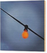 Orange Light Bulb Wood Print
