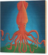 Orange Squid Wood Print