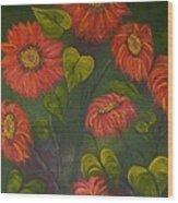 Orange Sunflowers Wood Print