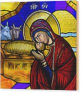 Orthodox Christmas Card Wood Print