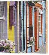 Painted Buildings On Main Street In Wood Print