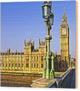 Palace Of Westminster From Bridge Wood Print