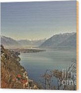 Panoramic View Over A Lake Wood Print