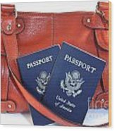 Passports With Orange Purse Wood Print