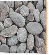 Pebbles On Beach Wood Print