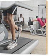 People Exercising In Health Club Wood Print