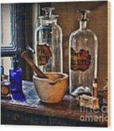 Pharmacist - Mortar And Pestle Wood Print