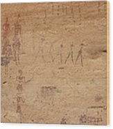 Pictograph Of Walking Figures Wood Print