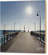 Pier In Backlight Wood Print