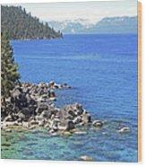 Pines Boulders And Crystal Waters Of Lake Tahoe Wood Print