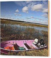 Pink Boat In Scenic Saskatchewan Wood Print