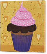 Pink Frosted Cupcake Wood Print