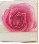Pink Rose And Teacup Wood Print