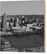 Pittsburgh In Black And White Wood Print