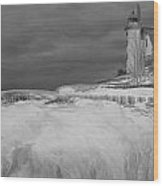 Point Betsie Lighthouse In Winter Wood Print