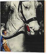 Portrait Of A Carousel Pony Wood Print