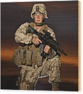 Portrait Of A U.s. Marine In Uniform Wood Print