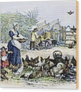 Poultry Yard, 1847 Wood Print