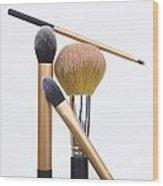 Powder And Make-up Brushes Wood Print by Bernard Jaubert