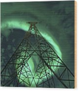 Powerlines And Aurora Borealis Wood Print