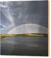 Prairie Hail Storm And Rainbow Wood Print