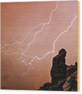 Praying Monk Camelback Mountain Lightning Monsoon Storm Image Tx Wood Print