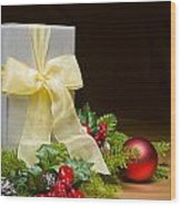 Present Decorated With Christmas Decoration Wood Print