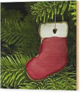 Present Sock Shape Short Bread Cookie In Christmas Tree Wood Print