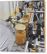 Preserve And Jam Bottling Production Line Wood Print by Photostock-israel