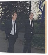 President George H.w. Bush Walks Wood Print by Everett