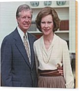 President Jimmy Carter And Rosalynn Wood Print by Everett