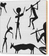 Primitive Art - Various Figures Wood Print