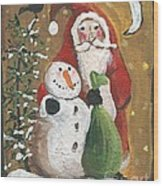 Primitive Santa And Snowman Crow Wood Print