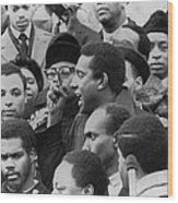 Profile Of Stokely Carmichael Speaking Wood Print
