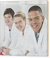 Pupils In A Science Lesson Wood Print