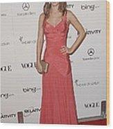 Rachel Bilson Wearing A Zac Posen Dress Wood Print by Everett