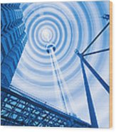 Radio Tower With Radio Waves Wood Print