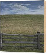 Rail Fence And Field Along The Blue Ridge Parkway Wood Print