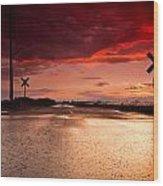 Railroad Sunset Wood Print