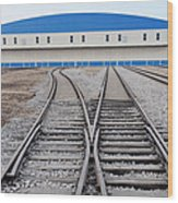 Railway Shed And Sidings. Bright Blue Wood Print by Guang Ho Zhu