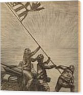Raising The Flag Of Victory Wood Print