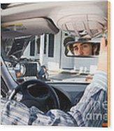 Rear-view Mirror Wood Print