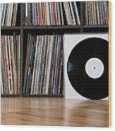 Records Leaning Against Shelves Wood Print by Halfdark