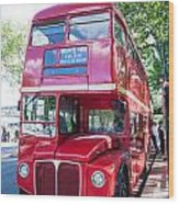 Red London Bus Wood Print