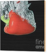 Red Pepper Falling Into Water Wood Print